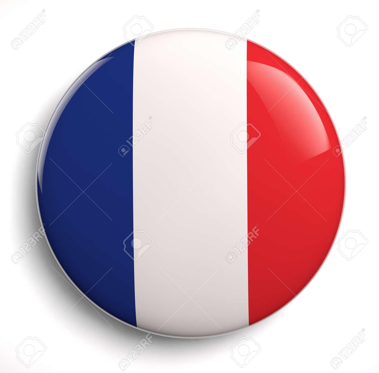 French flag icon on white. - 25923679