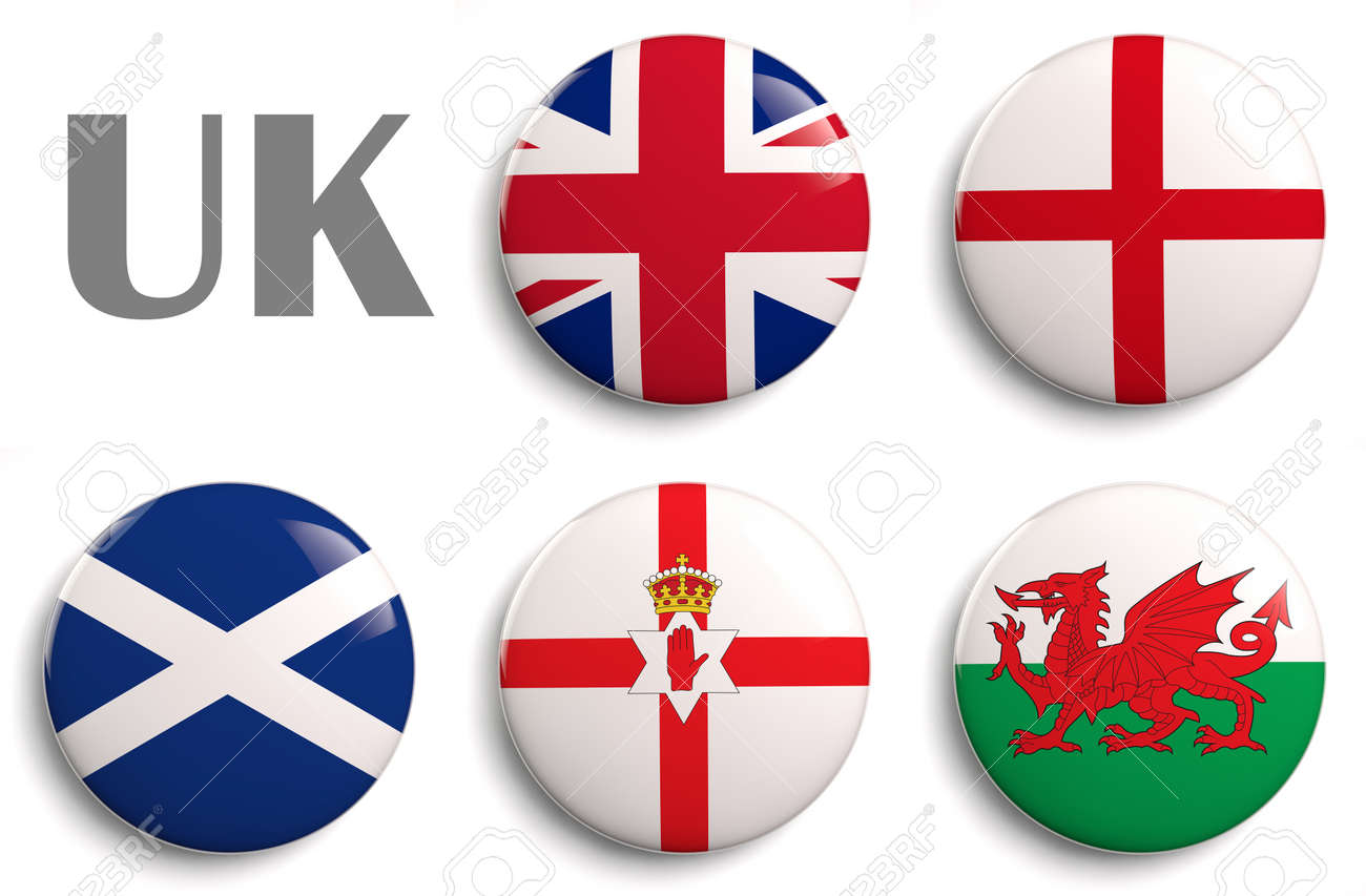 british isles flags of the united kingdom countries stock photo