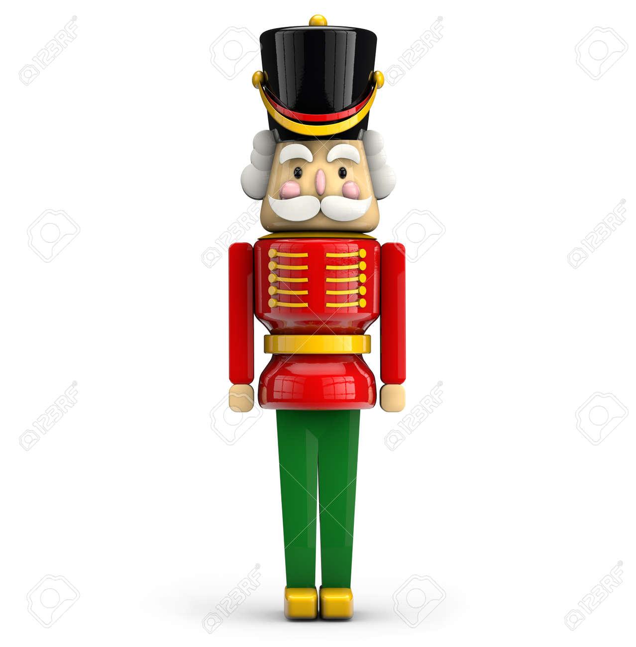 Nussknacker Weihnachten Soldat Spielzeug Isoliert Auf Weißem ...