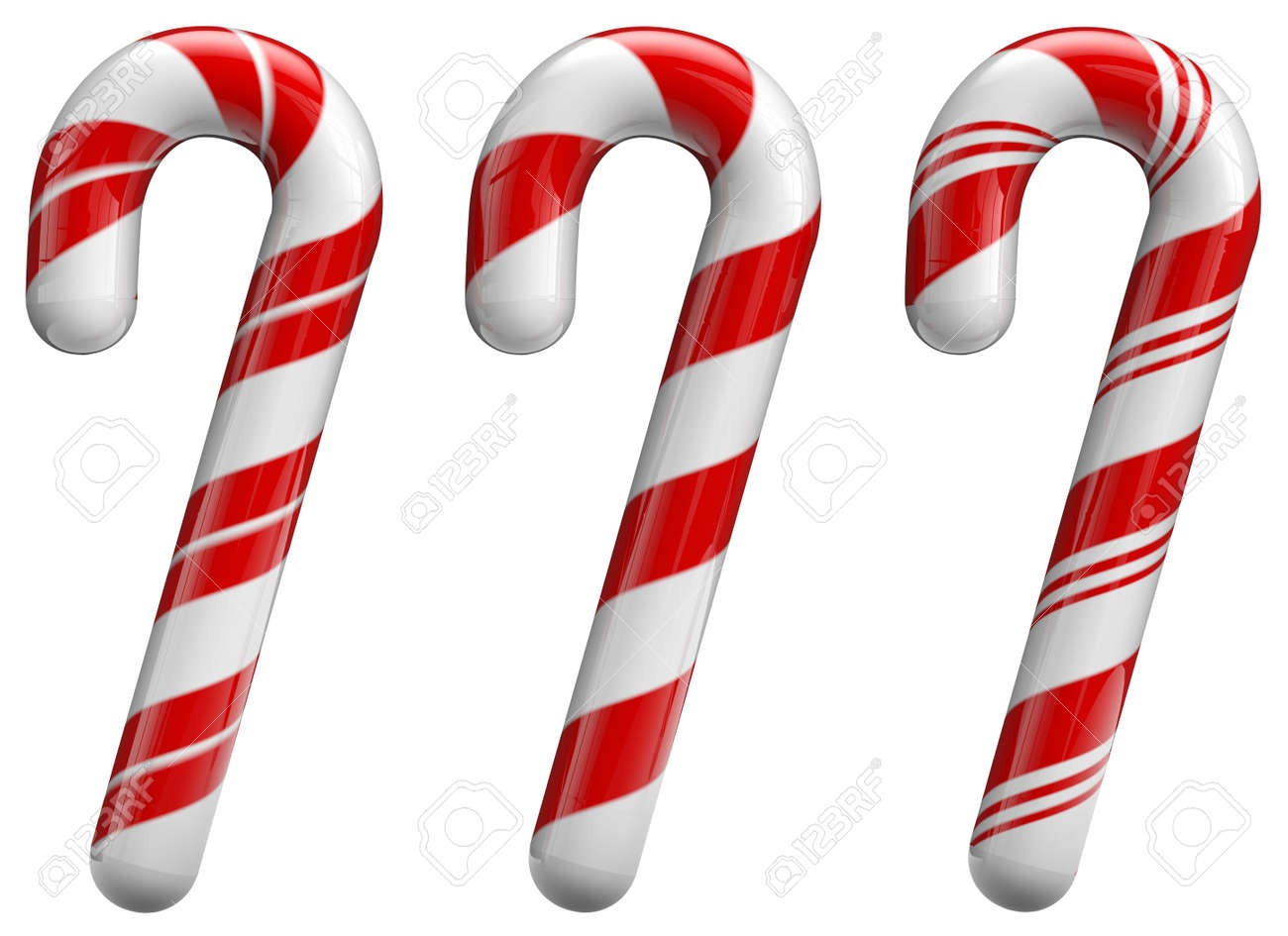 Christmas candy cane ornaments set. Isolated on white and with clipping path. - 34064560