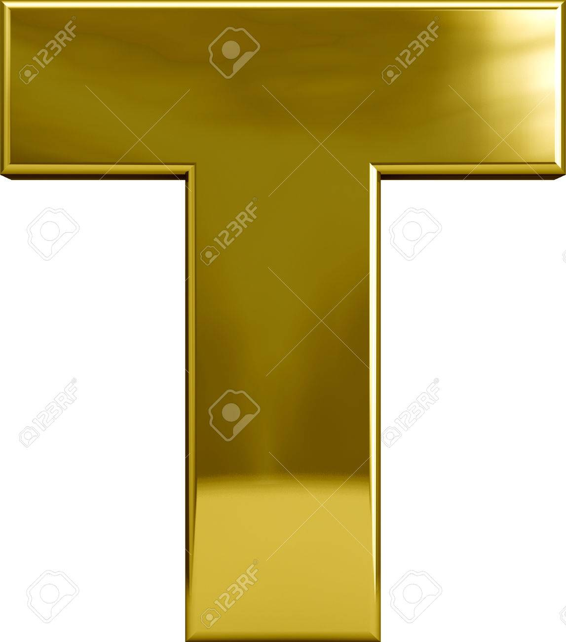 Gold metal T letter character isolated on white - 36632590