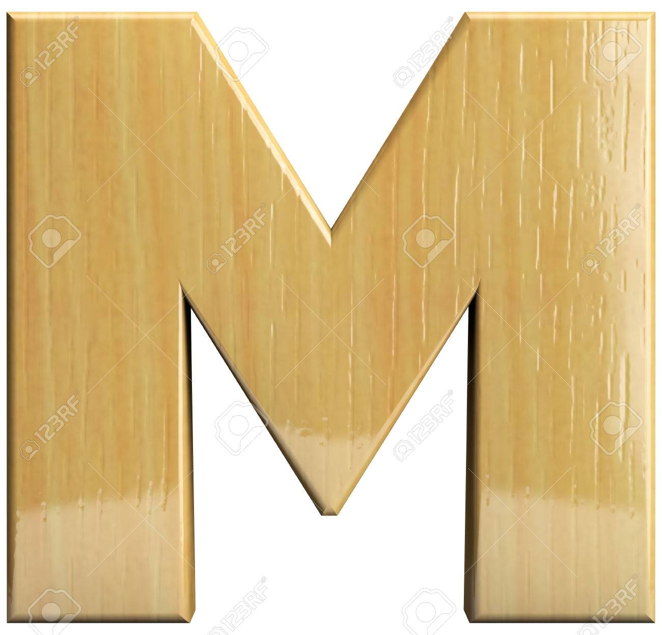 stock photo wooden letter m wood character isolated on white