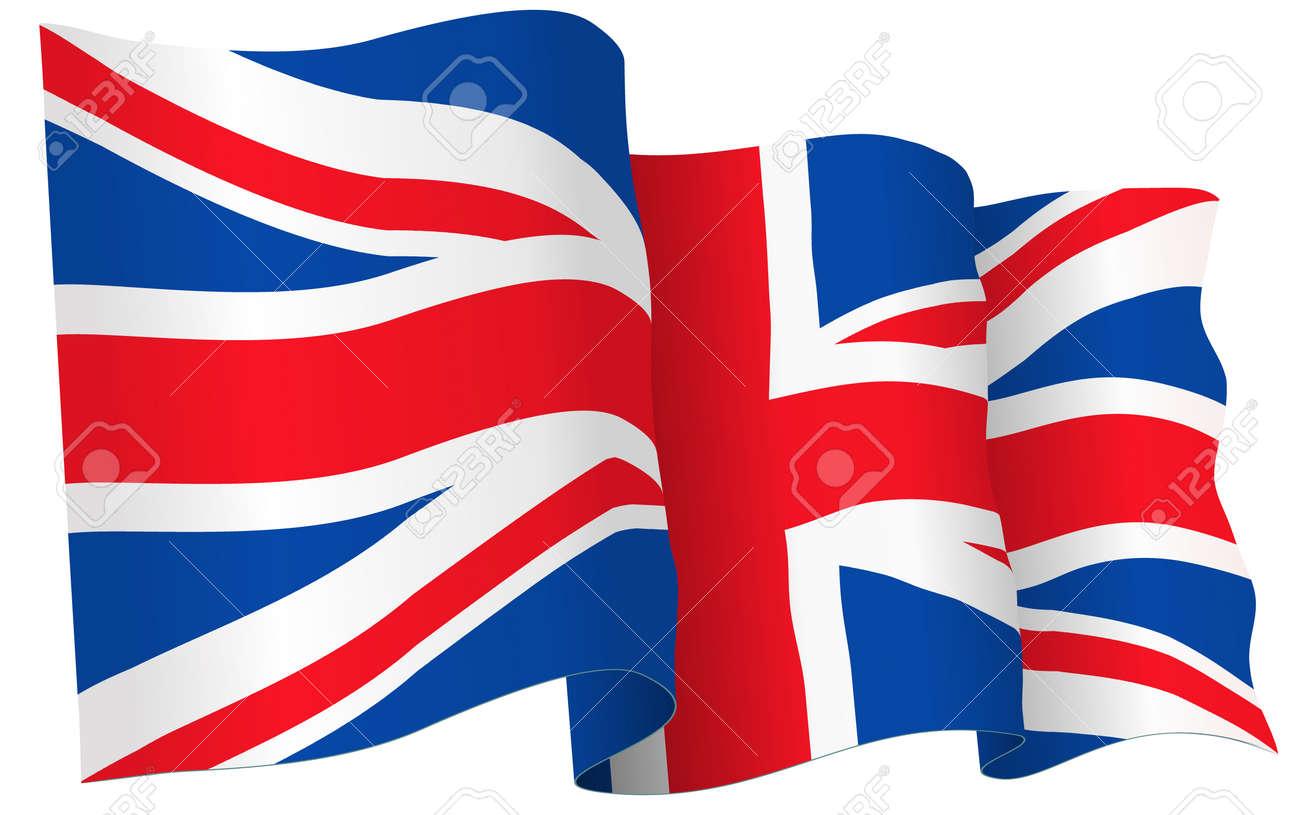 uk british flag waving vector illustration isolated on white