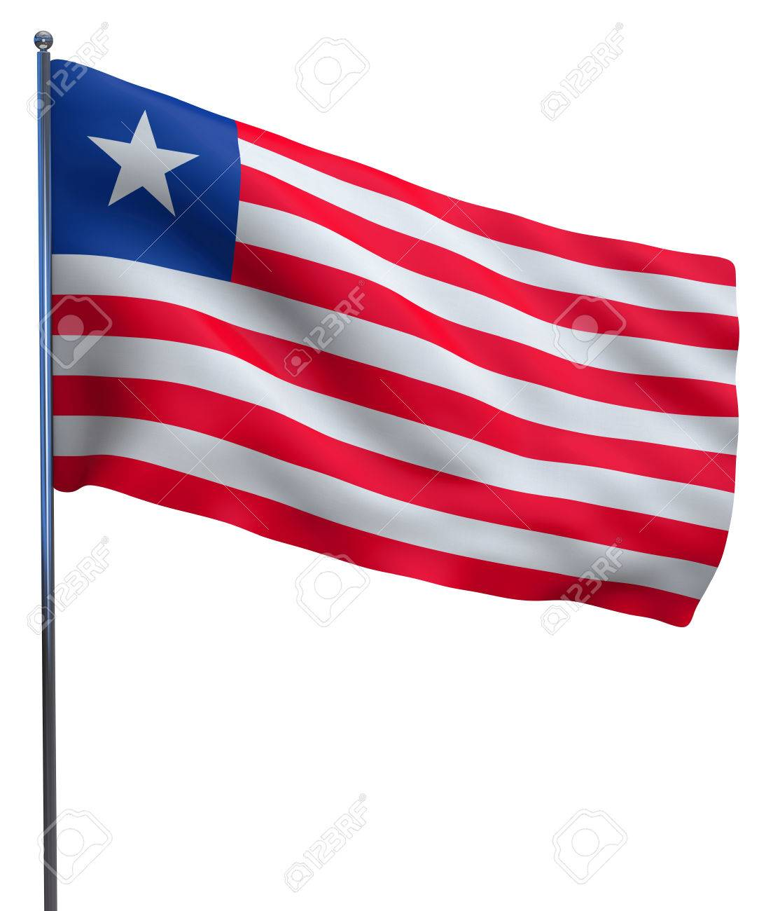 Liberia flag waving image isolated on white  Clipping path included