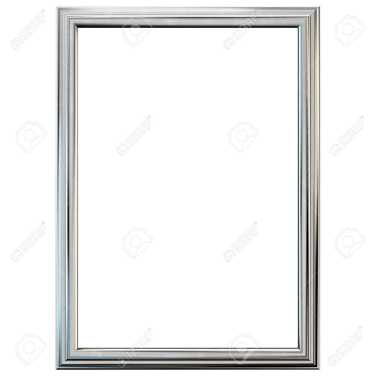 Silver Frame Isolated On White. Clipping Path Included. Stock Photo ...