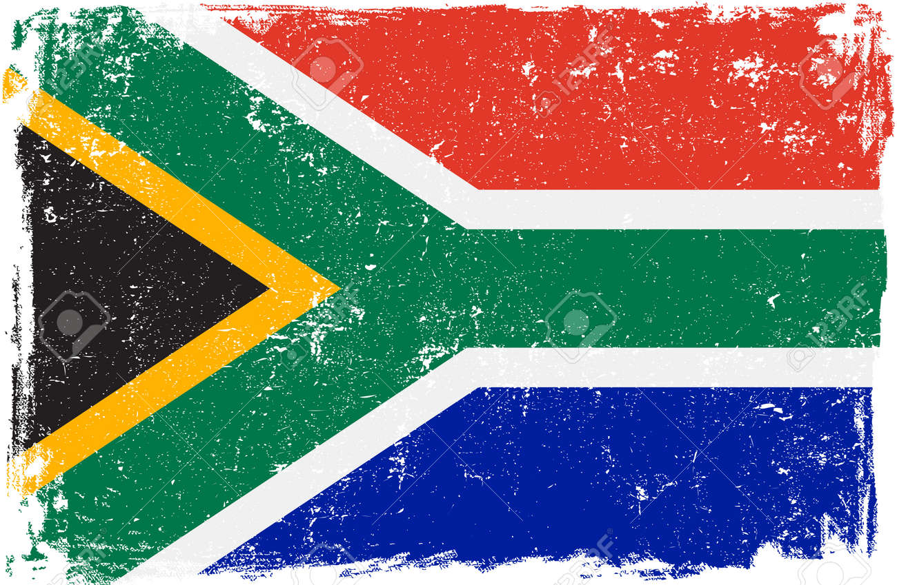 South Africa vector grunge flag isolated on white background. - 50591764