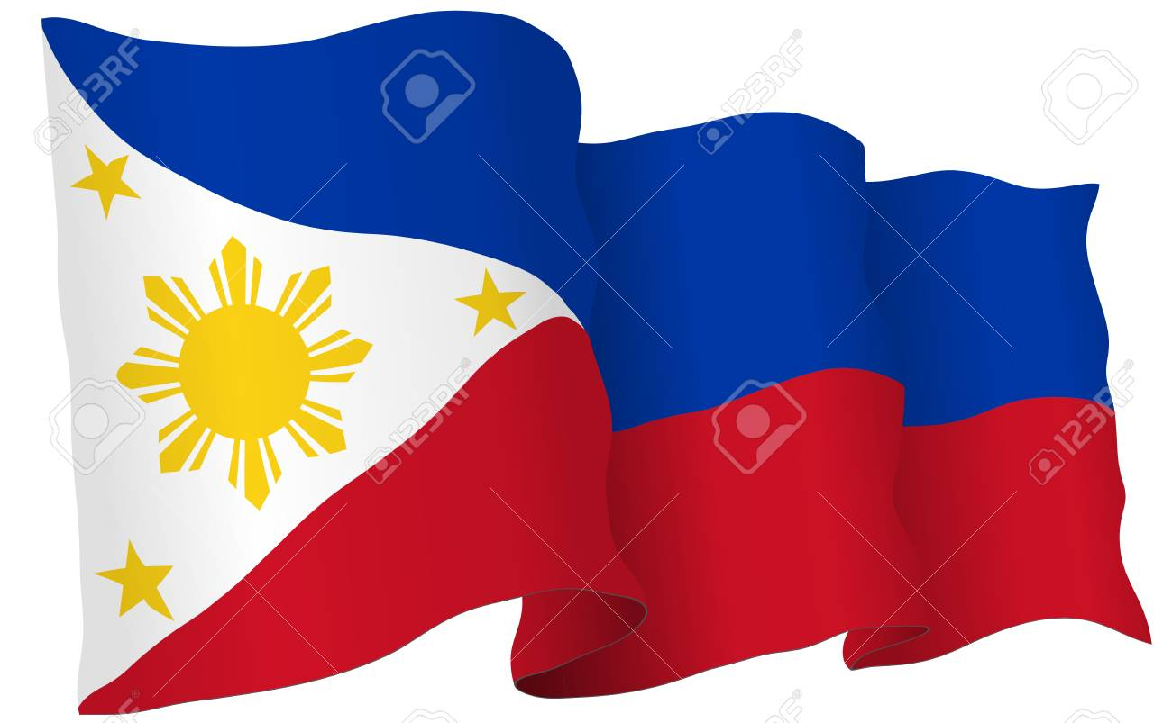 philippines flag waving isolated on white in vector format. royalty
