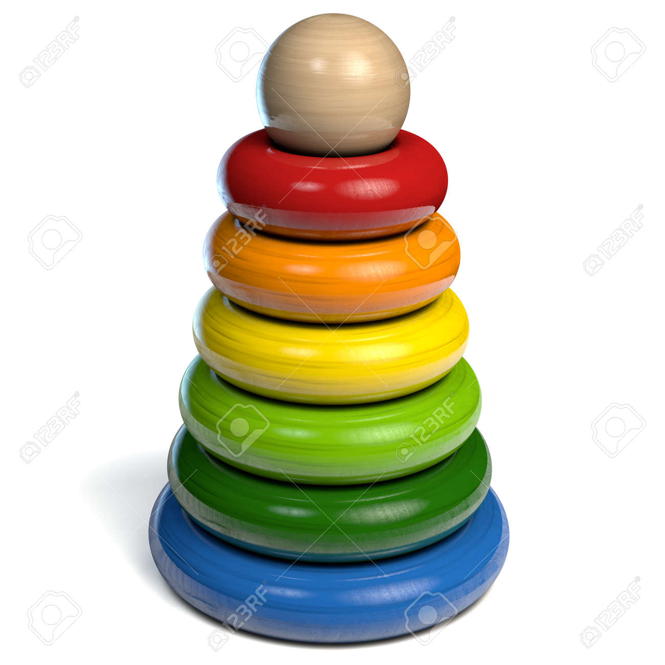 Pyramid Toy with Colored Wooden Rings with Ball on top. 3D Illustration - 141328963