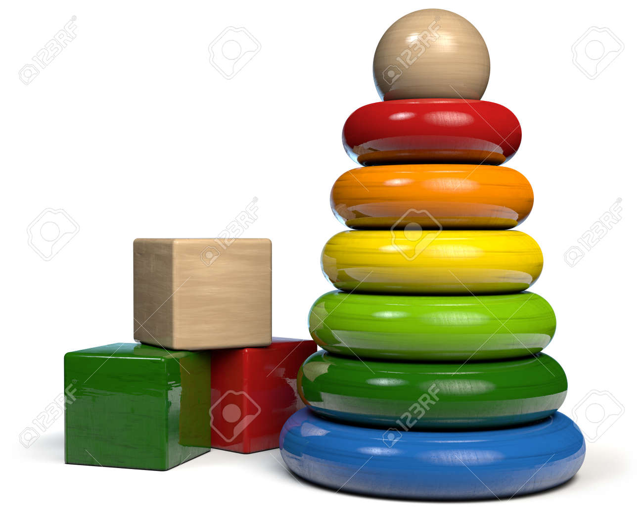 Wooden Toys - Building Blocks and Rings Pyramid. 3D illustration. - 141328965