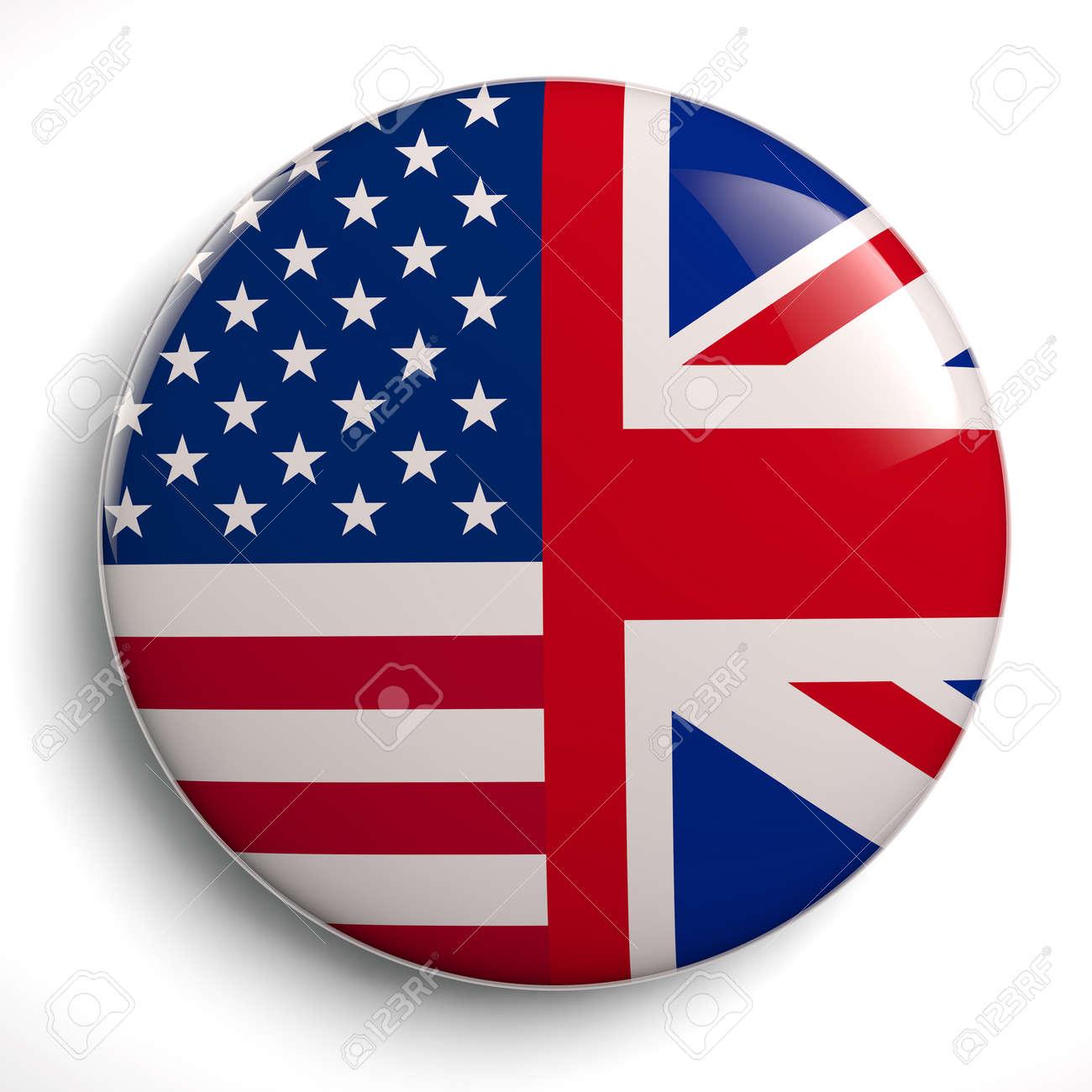 USA - UK Speacial Relationship Flags Circle Symbol - 3D Illustration - 147119581