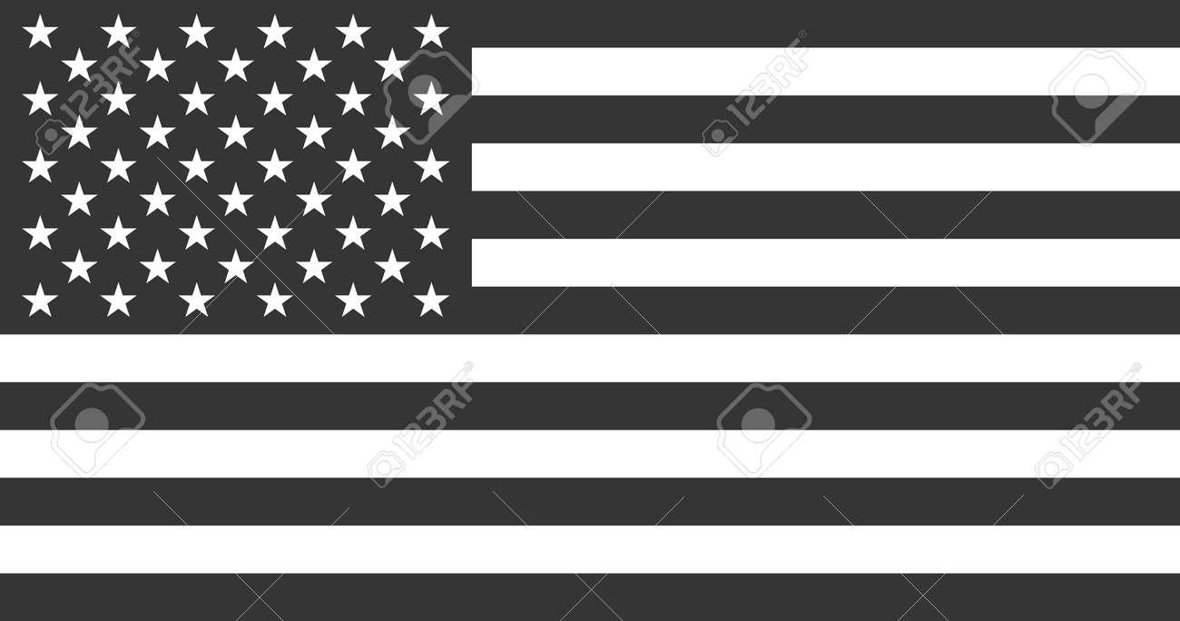 USA American Flag in Black & White - Vector Illustration - 146407029