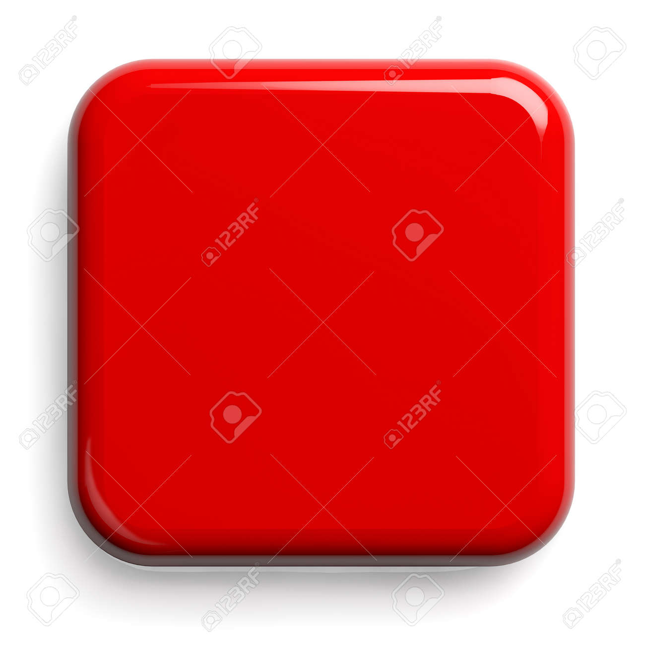 Red Button. Square Shiny Plate Isolated on White. Clipping path included. 3D illustration. - 147354081