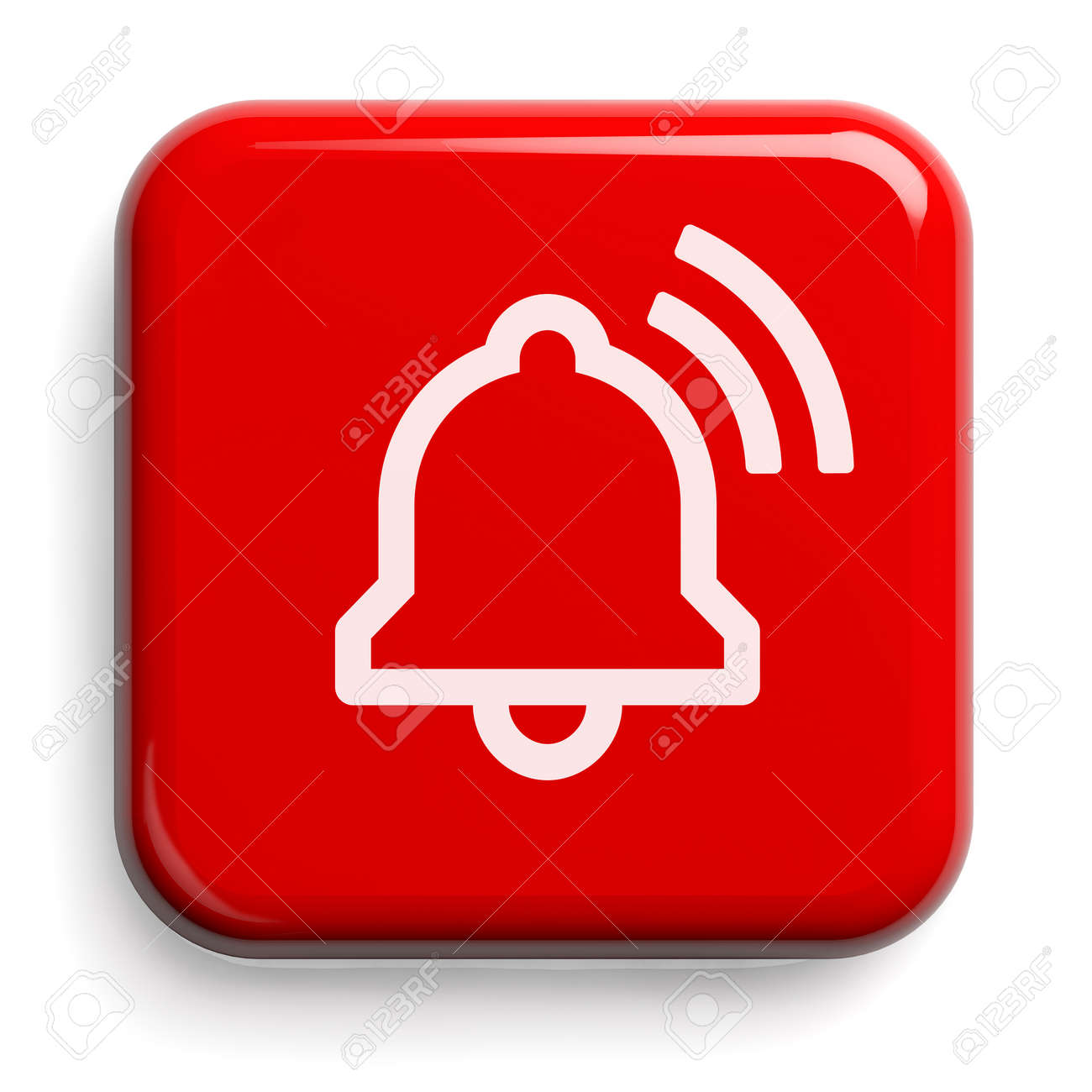 Red Alarm Bell Button Isolated on White. Clipping path included. 3D illustration. - 147353761