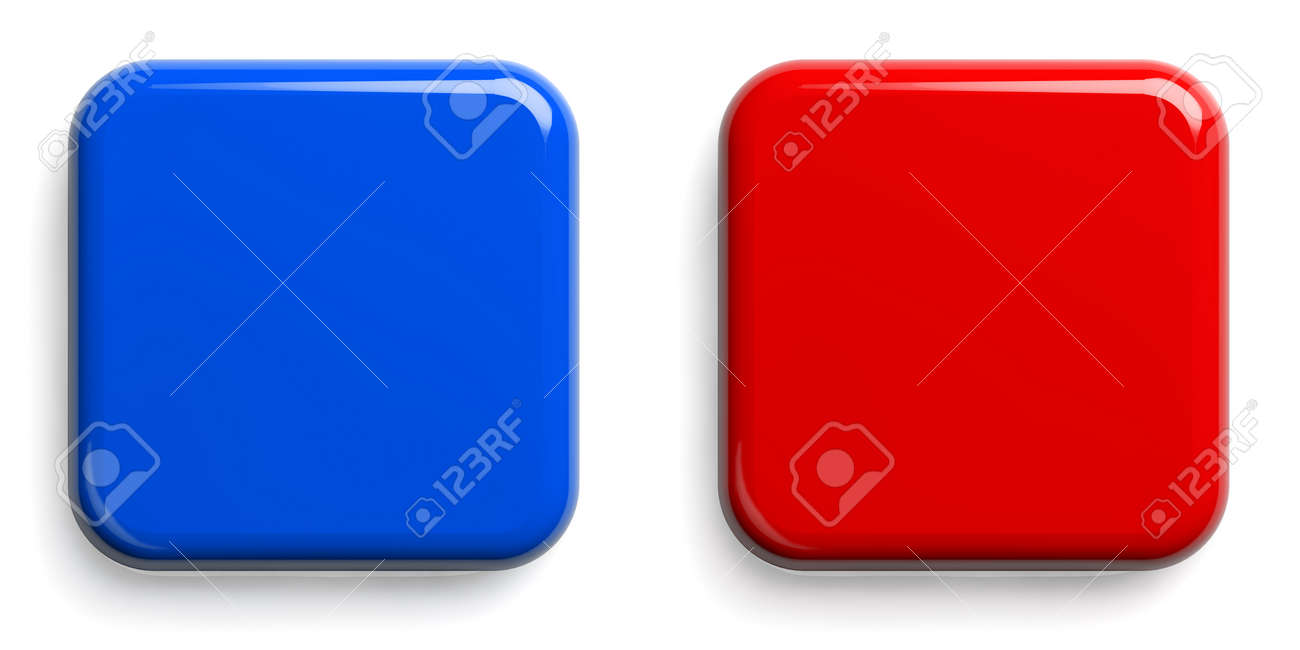 Red Button and Blue Button. Square Shiny Pushbuttons Isolated on White. Clipping path included. 3D illustration. - 147353767