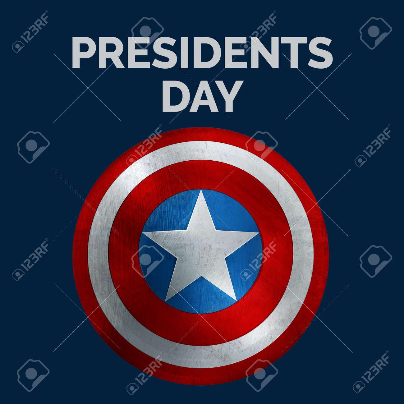 Presidents Day Banner. USA Flag Shield 3D Illustration. - 148347480