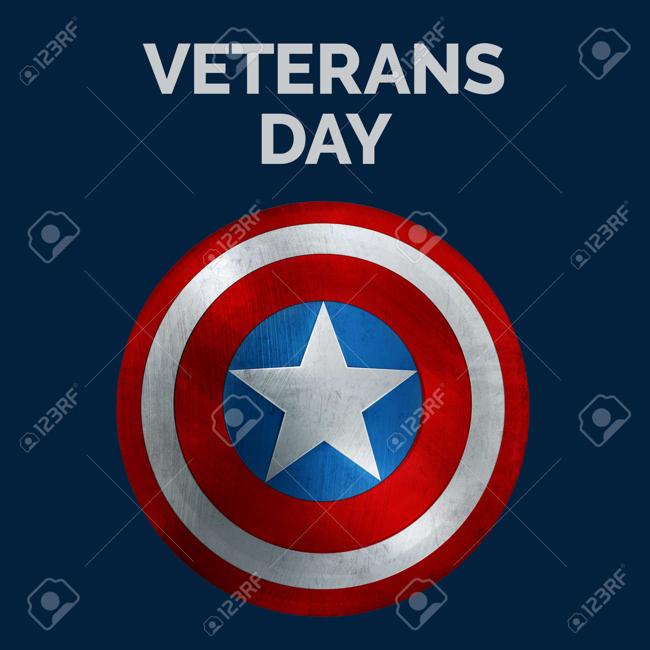 Veterans Day Banner with USA Shield. 3D Illustration. - 148347490