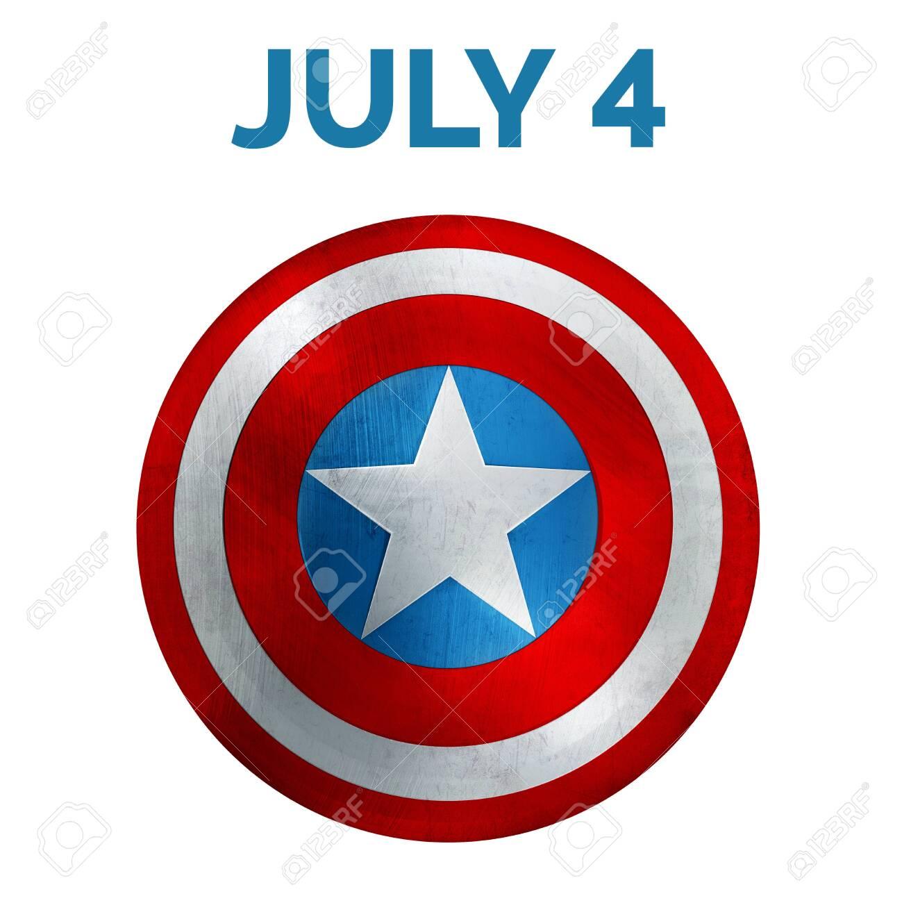 Independence Day Banner. USA Flag Shield 3D Illustration. - 148347502