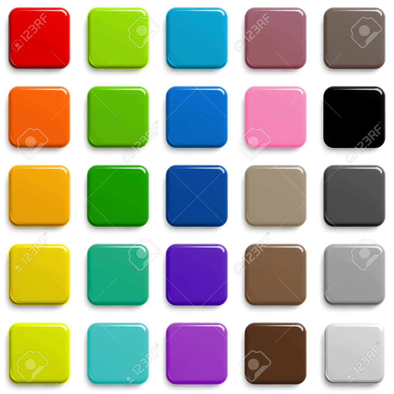 Web Buttons Sqaure Shape Design in Different Colors with Shadow. - 146873474
