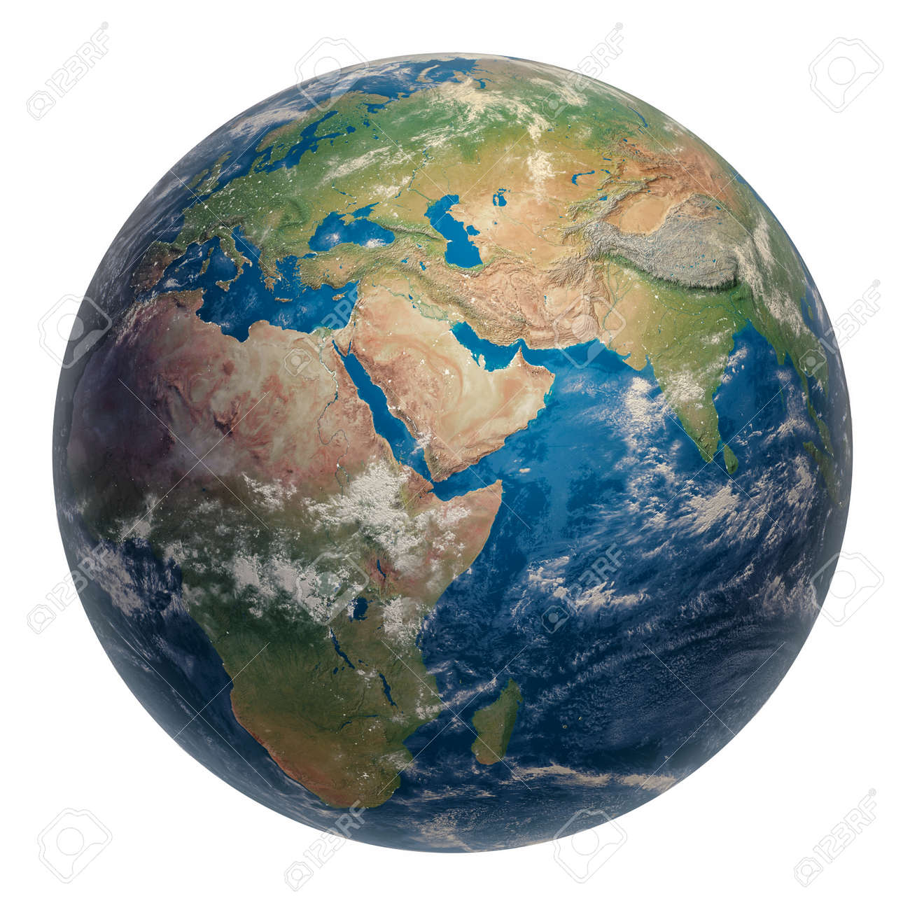 Planet Earth from Space Isolated on White. Clipart 3D Illustration. Parts of the Image Provided by NASA. - 149980157