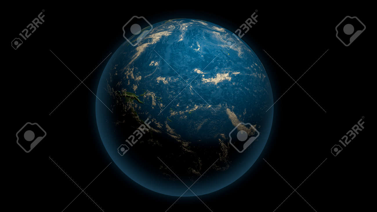 Global earth with Pacific Ocean on the black - 148954348