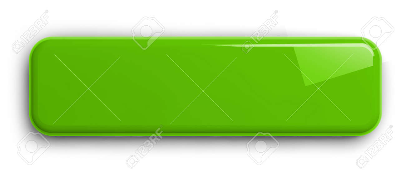 Light Green Button Clipart Image. Rectangular Shiny Plate Isolated on White. Clipping path included. 3D illustration. - 149652543