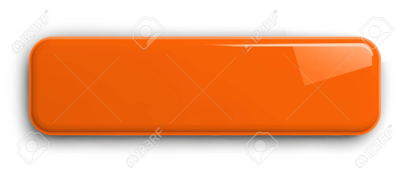 Ornage Button Clipart Image. Rectangular Shiny Plate Isolated on White. Clipping path included. 3D illustration. - 149652544