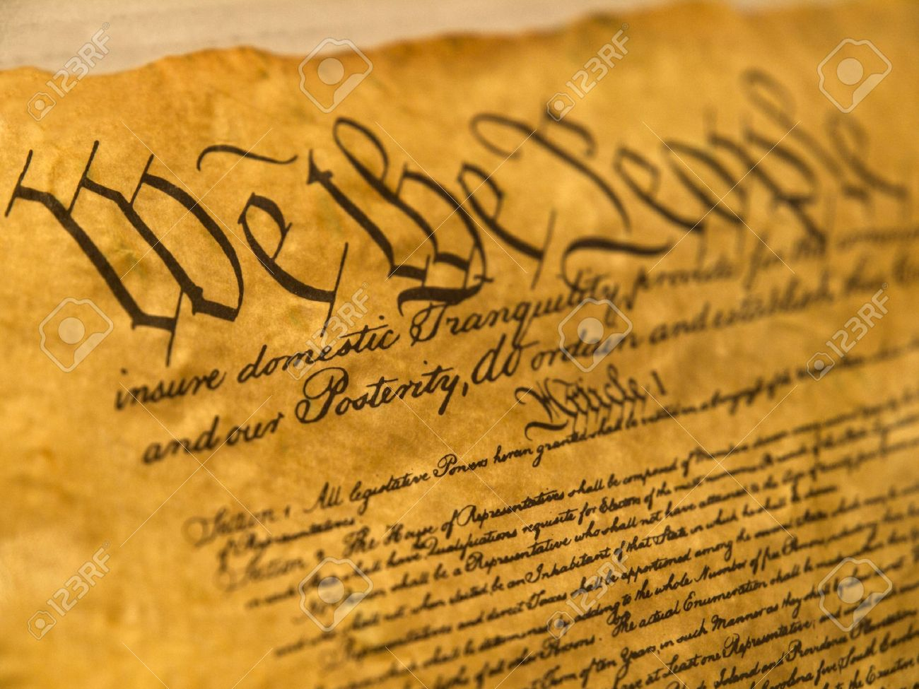 USA Constitution Parchment Stock Photo - 9468649