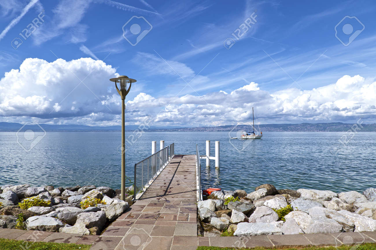 View of Lake Geneva from the french side Stock Photo - 11072199