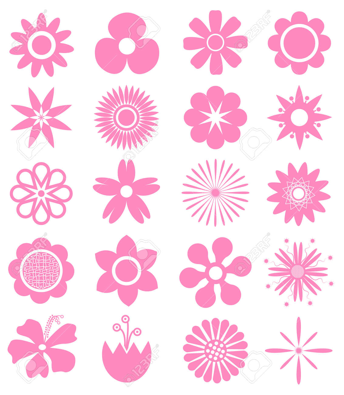 set of vector flowers can use for printing and website funny