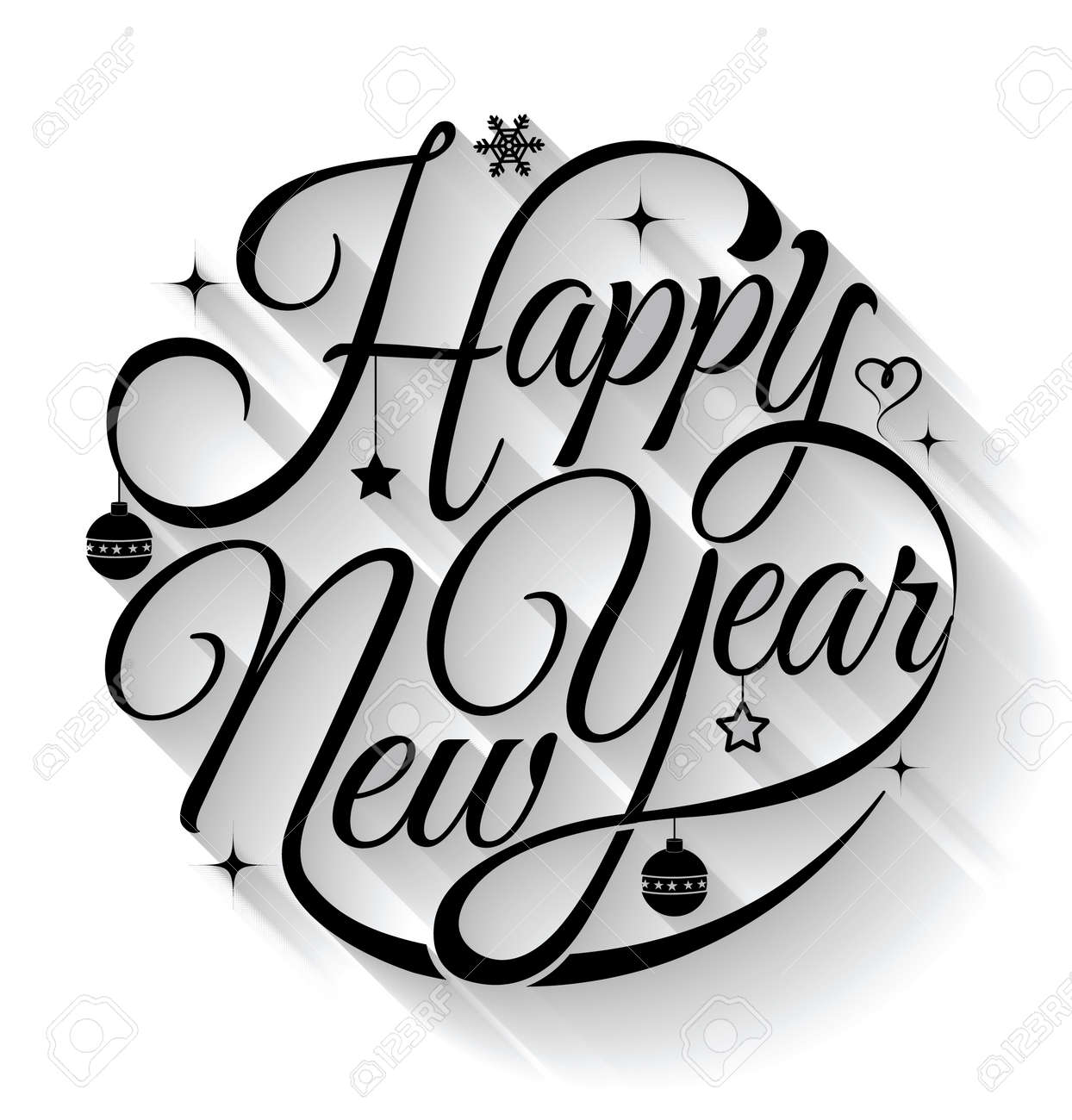Happy new year card. Vector illustration. Can use for printing and web. - 33114940