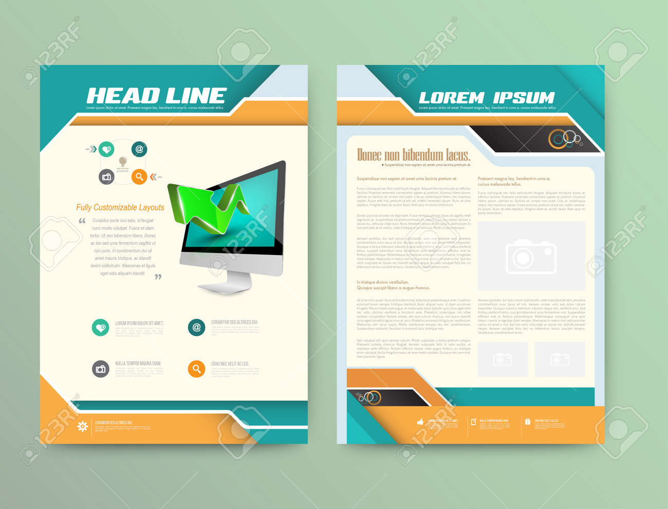 Abstract Vector Brochure Template Flyer Page Style Plat Elements