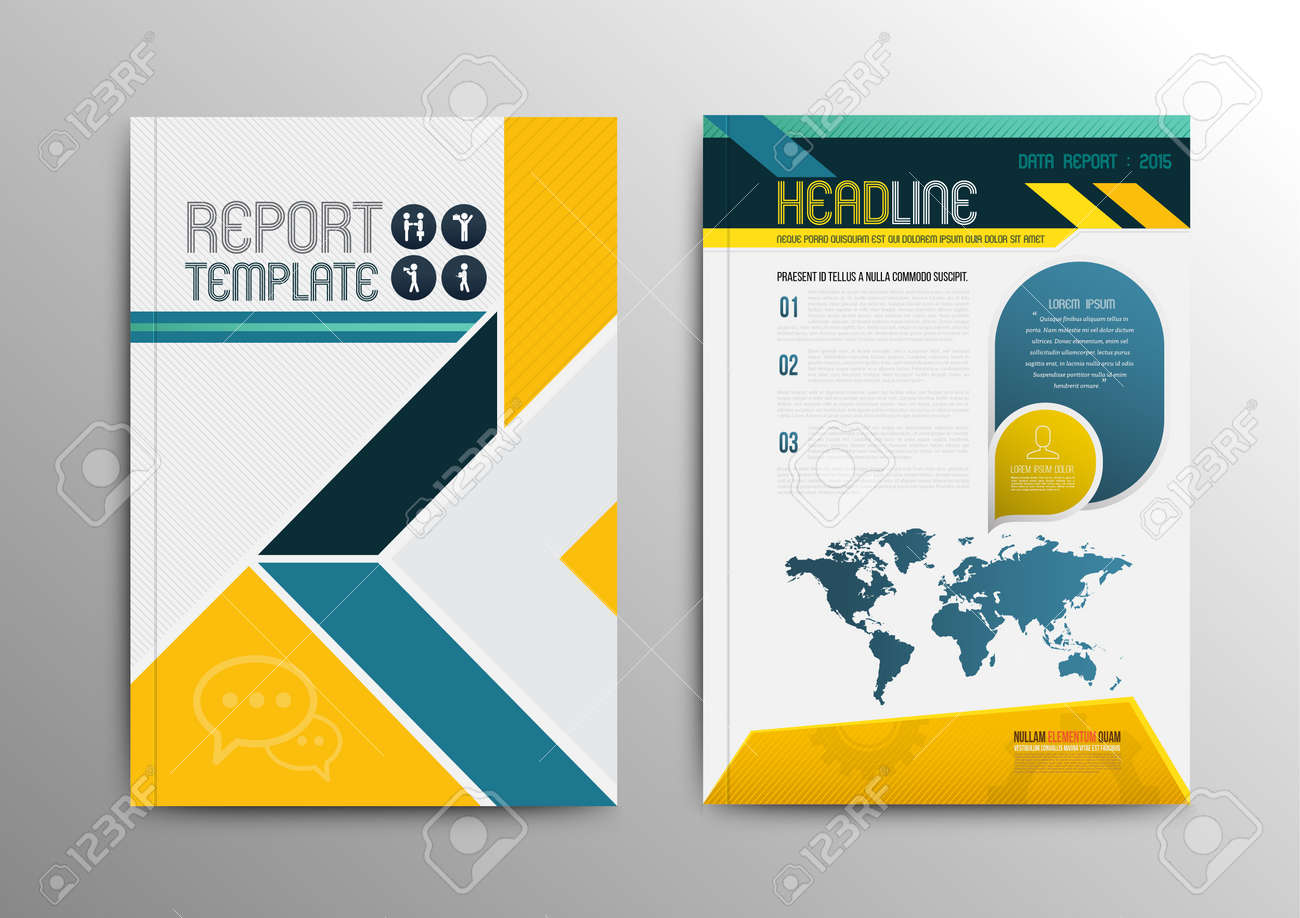 Vector brochure template design with world map. Vector illustration. Can use for business brochure. - 35760667