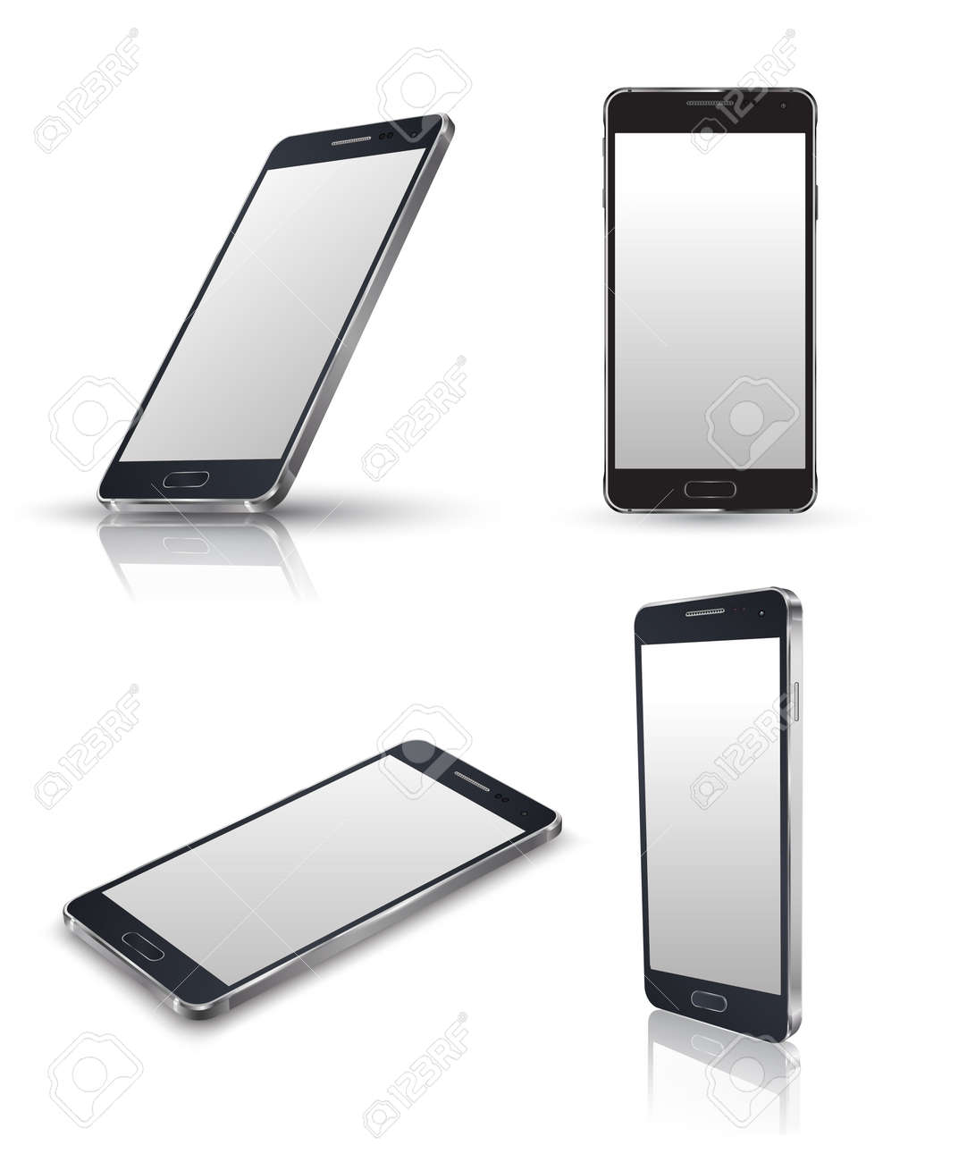 Mobile phone isolated on white. Realistic smartphones vector set. Vector illustration. - 37091272