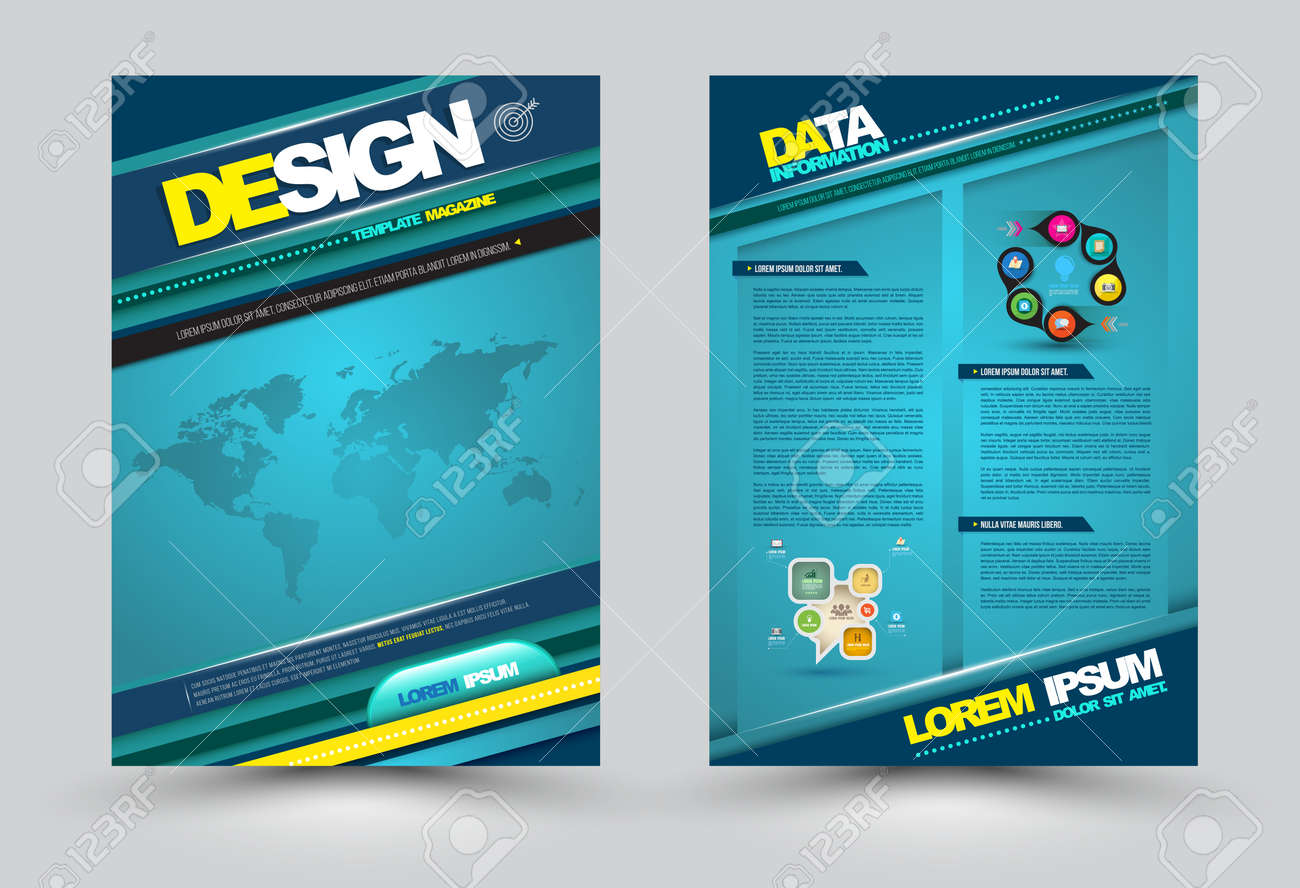 Vector design page template modern style. Vector illustration. Can use for business data report, presentation, web page, printing, brochure, leaflet, flyer, poster and advertising. - 37091346