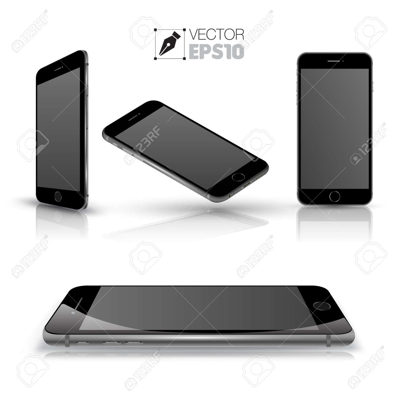 Mobile phone isolated on white. Realistic smartphones vector set. Vector illustration. - 37091359