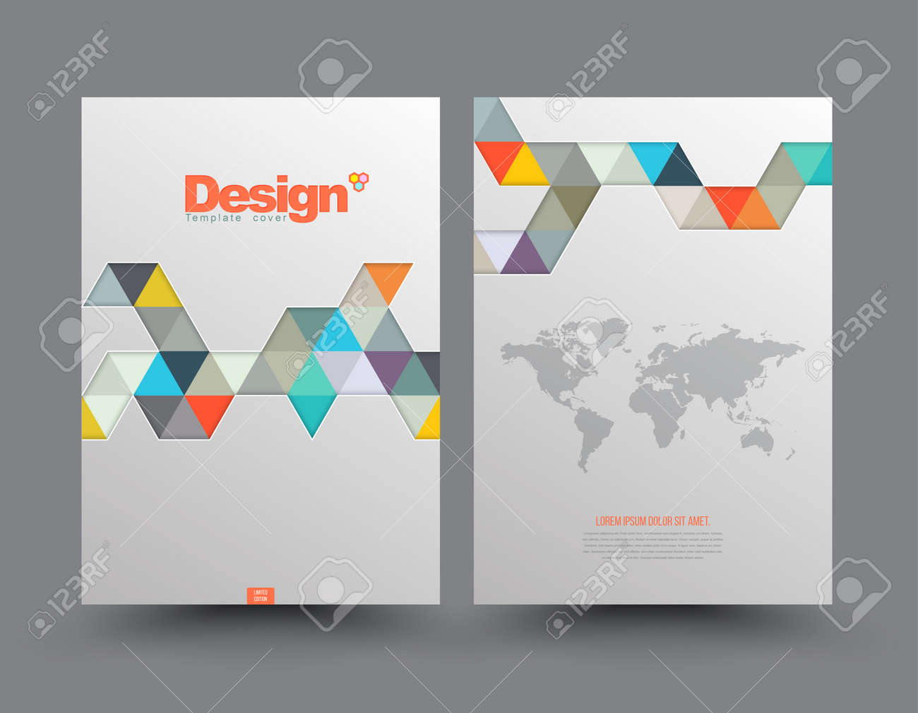 Template Cover with pieces of colored paper triangles. Use for book, brochure, flyer, poster, booklet, leaflet, cd cover design, postcard, business card, annual report. vector. abstract background - 41723473