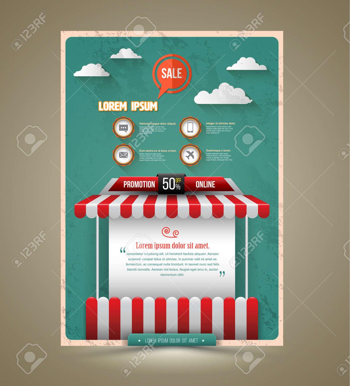 Hot promotion sale poster roof shop vintage style. Vector illustration. Can use for promotion sale. - 41723519