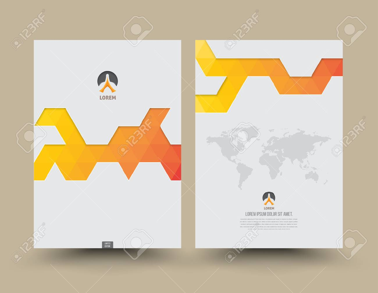 Cover template front and back triangle pattern modern style. Abstract Triangle design layout for magazine brochure flyer presentation poster booklet cover annual report in A4 size. - 41723639