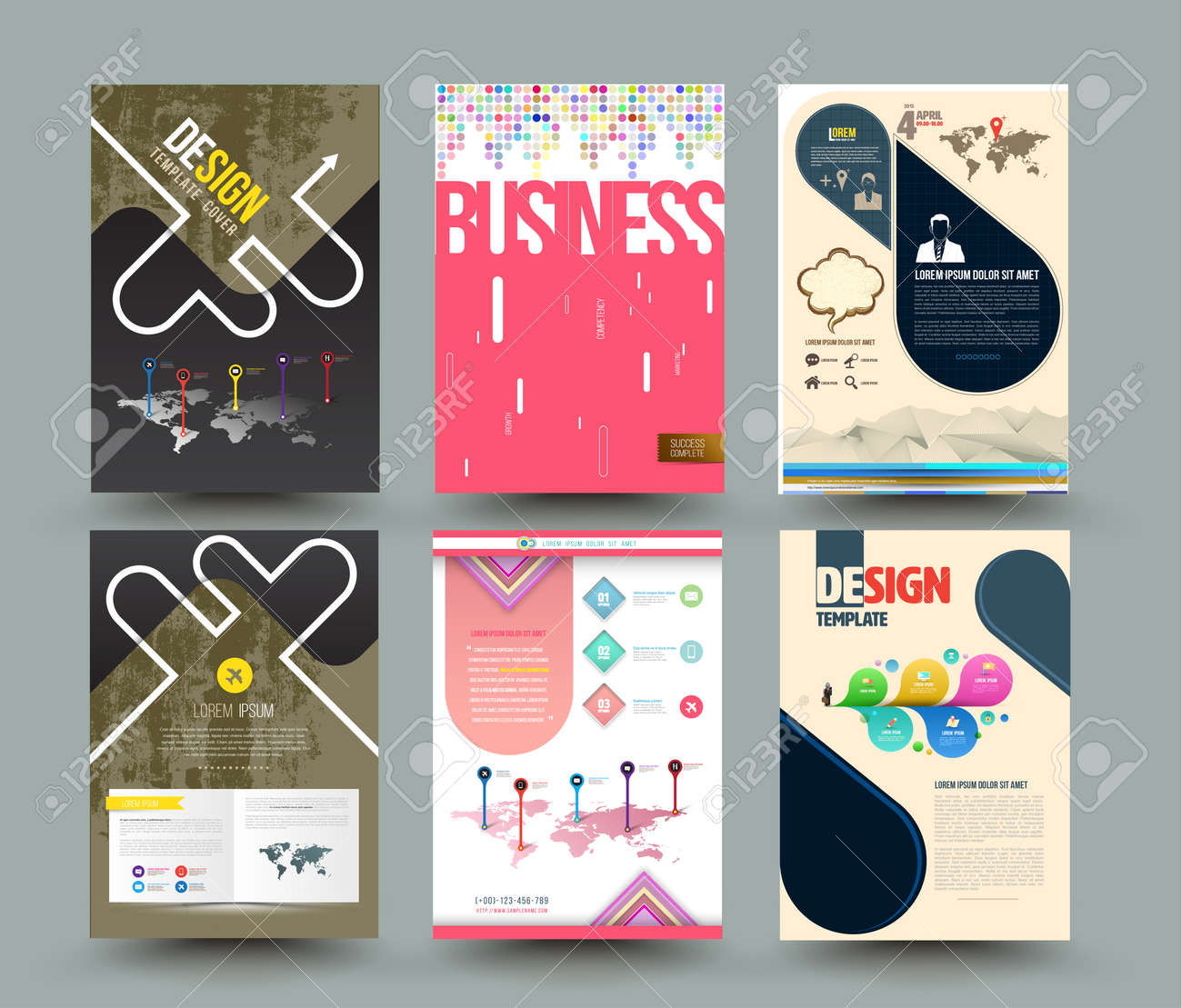 set of abstract modern cover report brochure flyer design template
