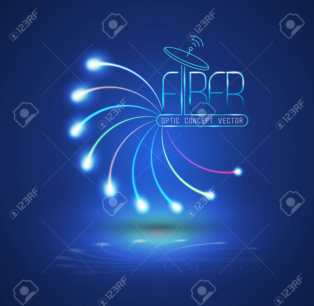 Abstract Light and line. Vector illustration. Can use for finer optic concept advertising. Fiber optic connection, business communication, network technology, can use for brochure and infographic - 41723704