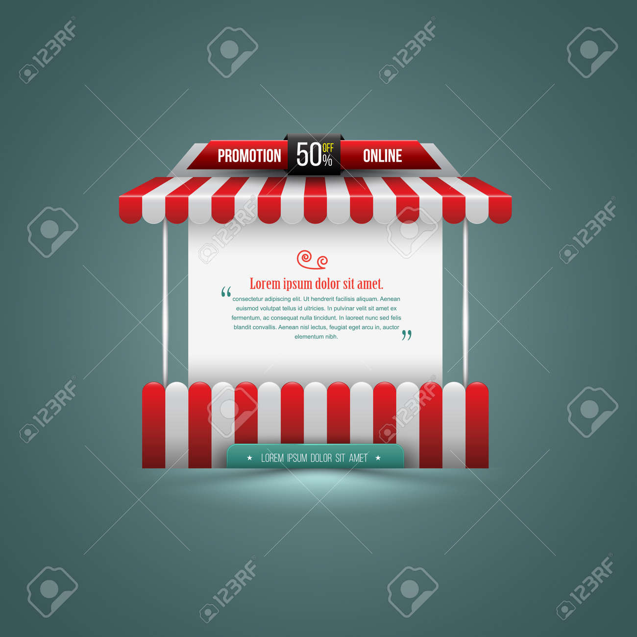 Vector illustration of a stall. Can use for promotion sale. Can use element for poster promotion and advertising. - 41723707