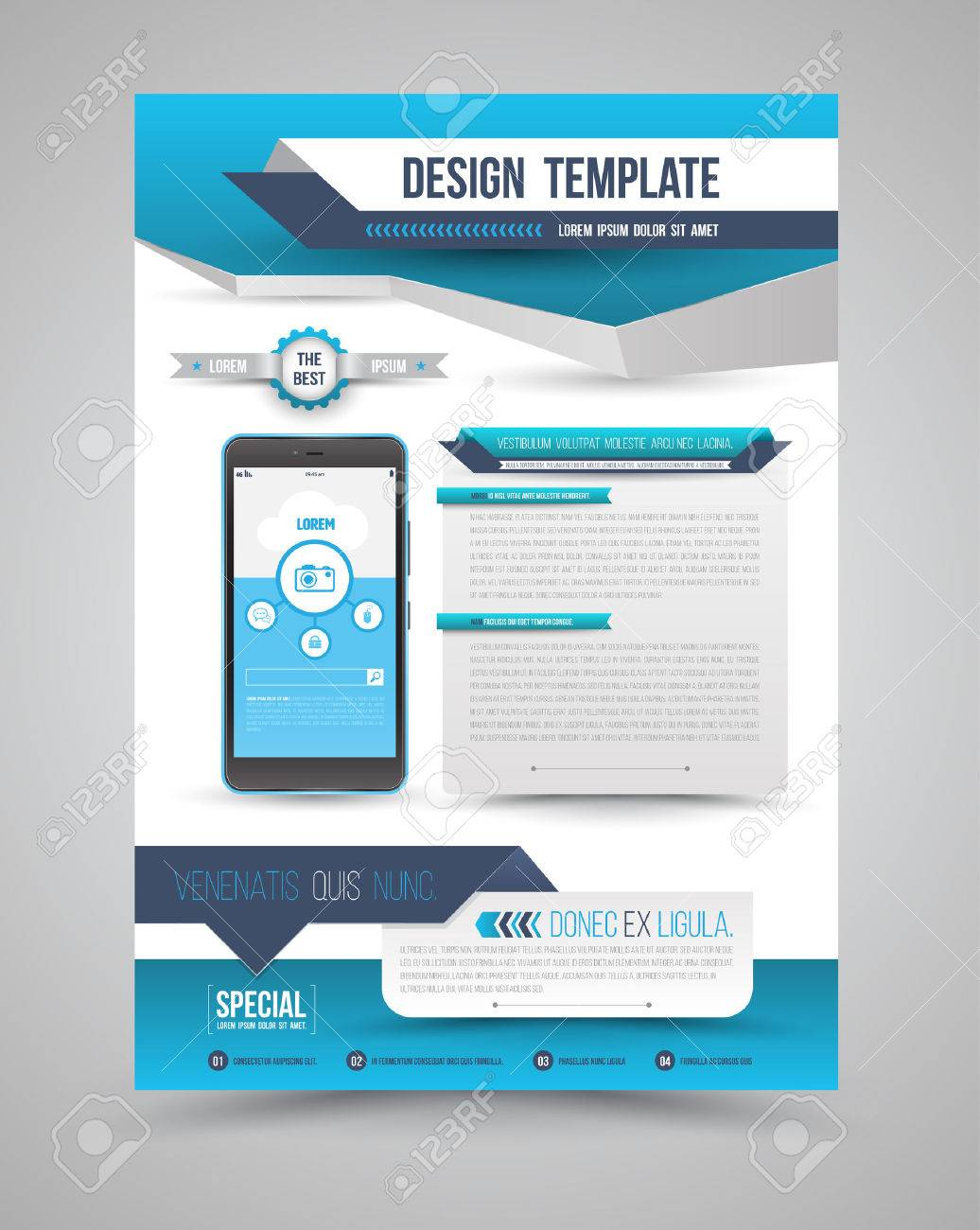 Template modern origami design with smartphone can use for brochure, leaflet, Magazine, cover book, poster and advertising. Vector illustration. - 43923509