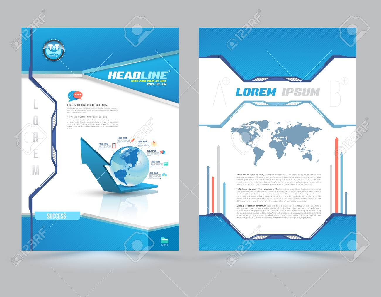 Cover Page Layout Template Technology Style. Vector Illustration. Can Use  For Leaflet, Brochure  Book Report Cover Sheet