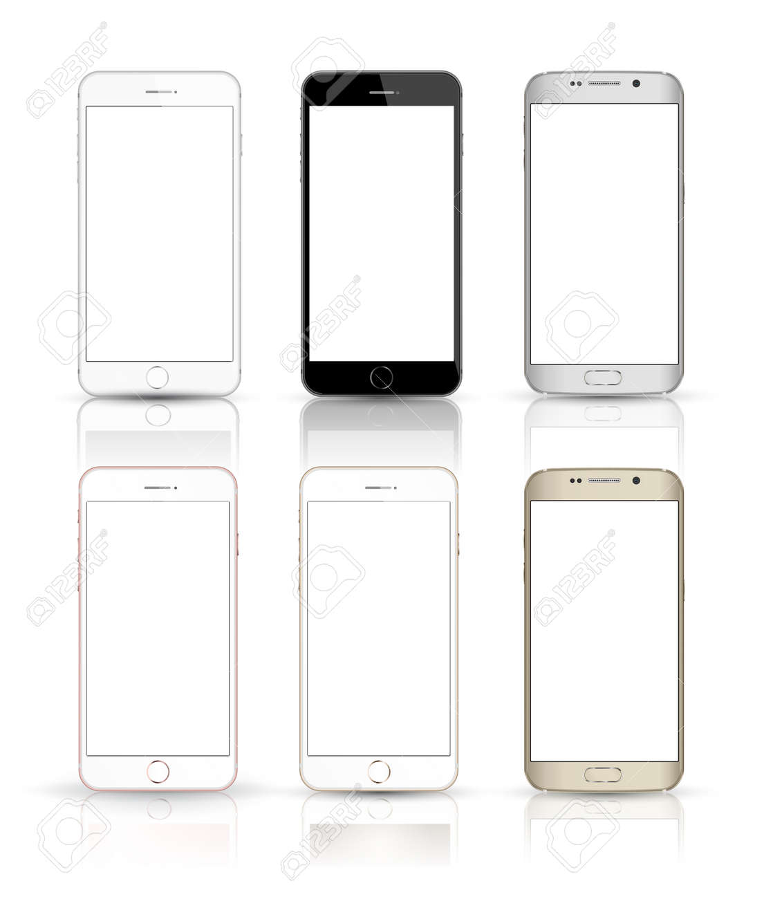 New realistic mobile phone smartphone collection iphon style mockups with blank screen isolated on white background. - 53438767