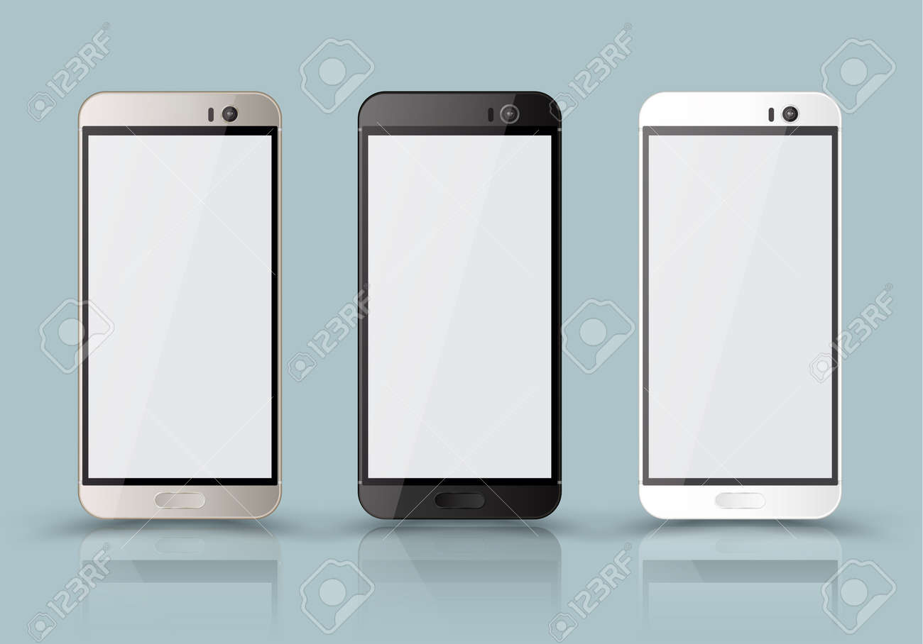 New realistic mobile phone smartphone collection mockups with blank screen isolated. - 53438960