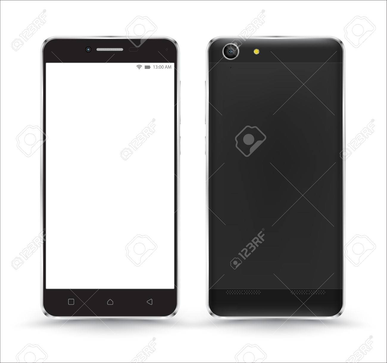 New realistic mobile phone smartphone collection mockups with blank screen isolated on white background. Vector illustration. for printing and web element, Game and application mockup. - 55560345