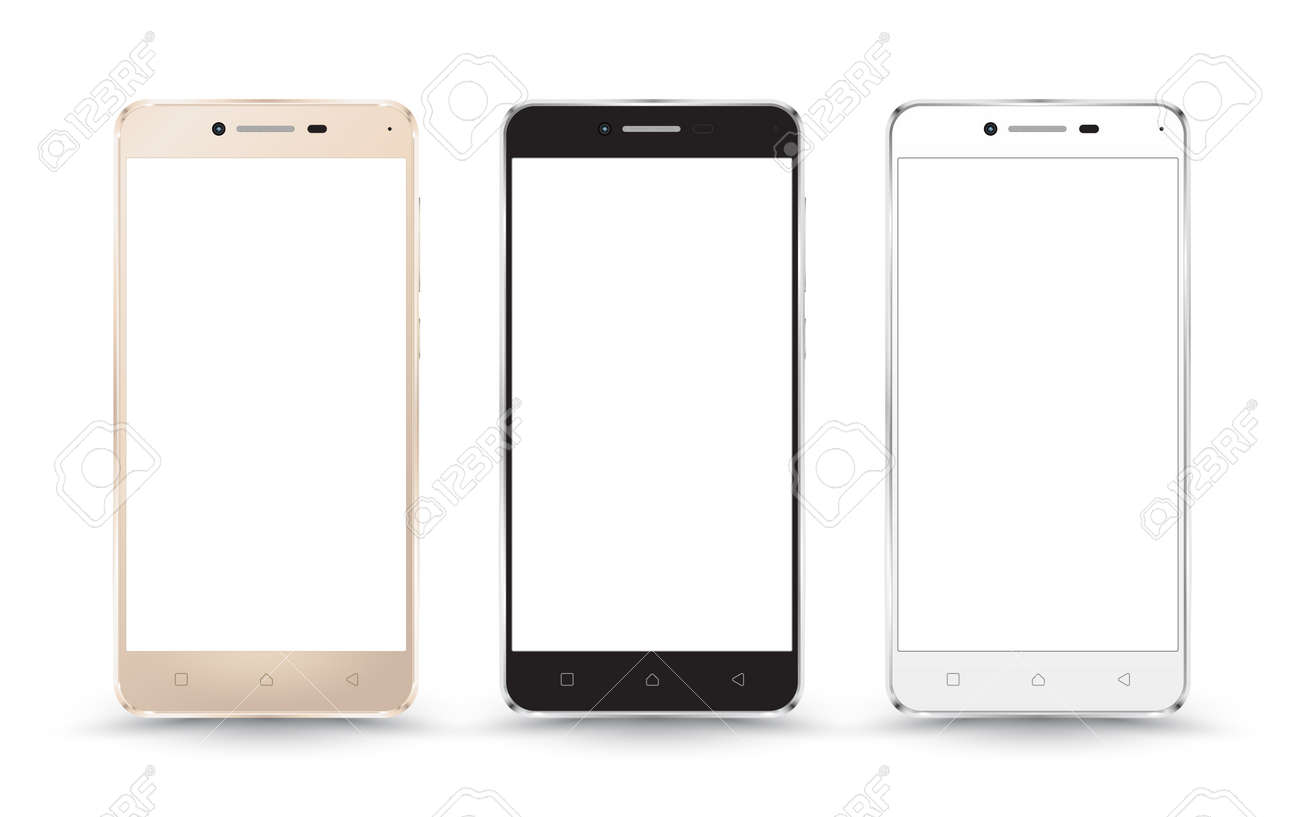 New realistic mobile phone smartphone collection mockups with blank screen isolated on white background. Vector illustration. for printing and web element, Game and application mockup. - 55560481