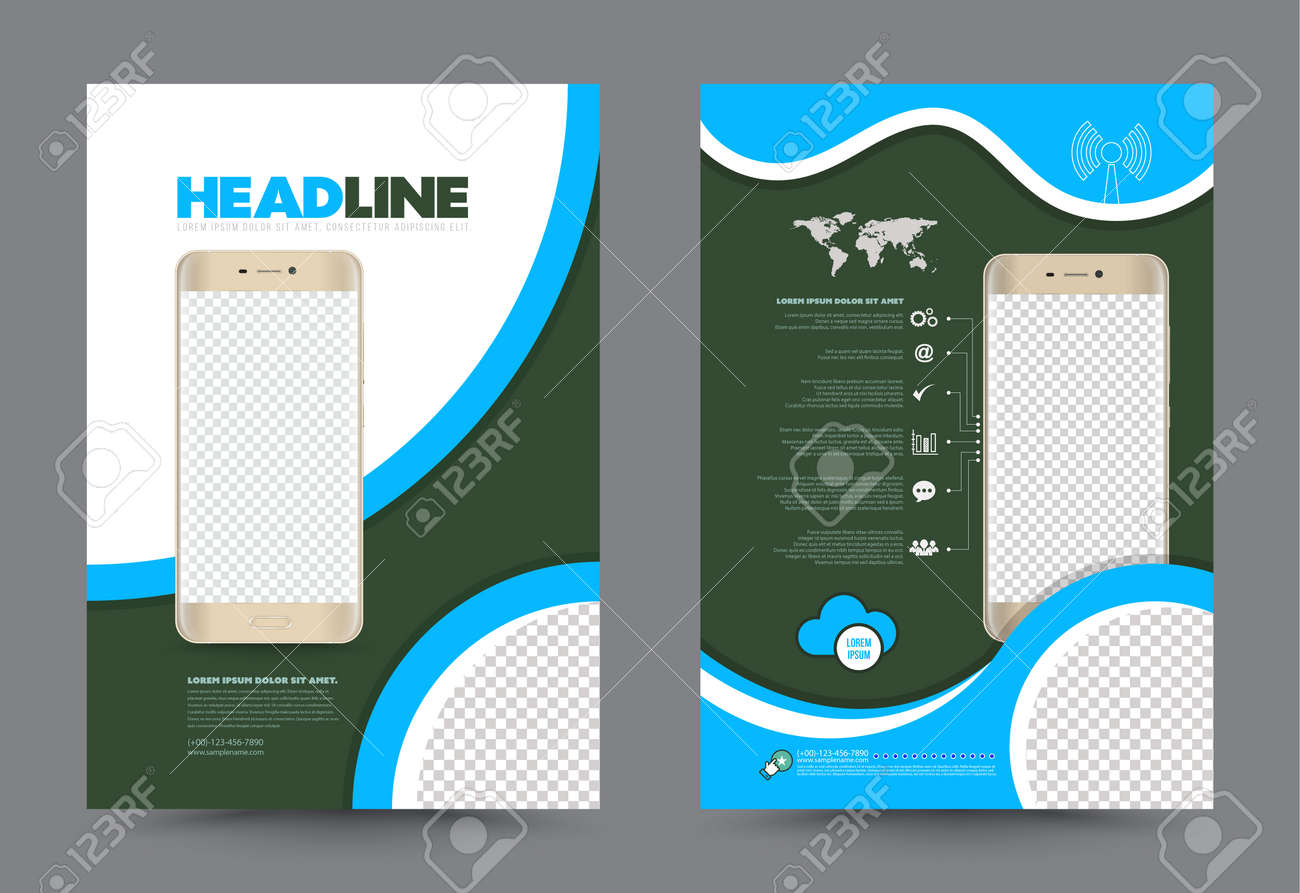 Cover Annual Report Leaflet Brochure Flyer Template A4 Size Design – Azure Flyer Template