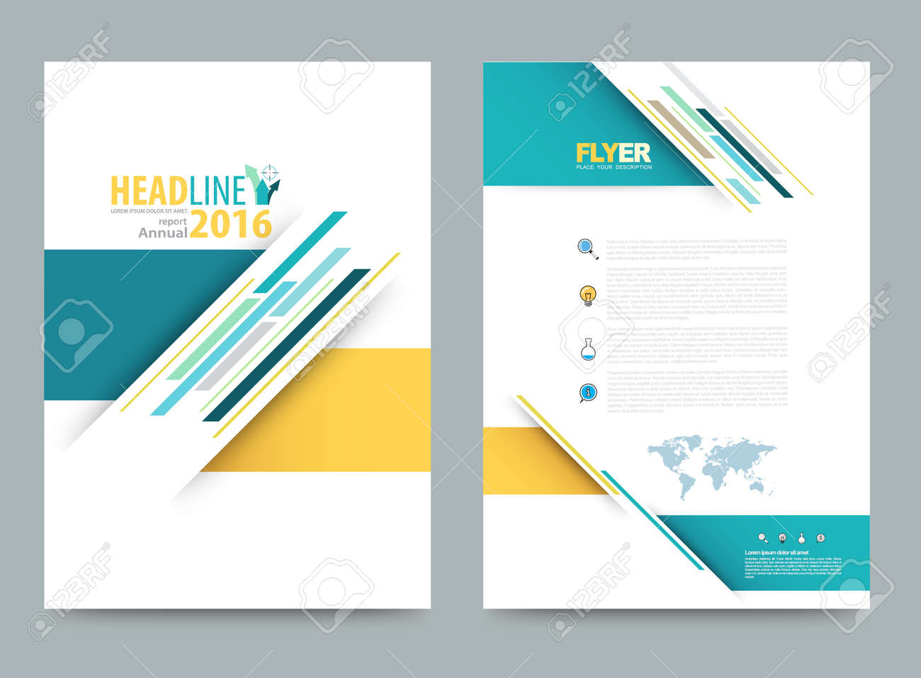 Vector cover design template simply and elegant style, Can use for flyer, brochure, annual report, magazine, book, poster, printing press and web presentation. Vector illustration. Front and back layout A4 size. - 58880892