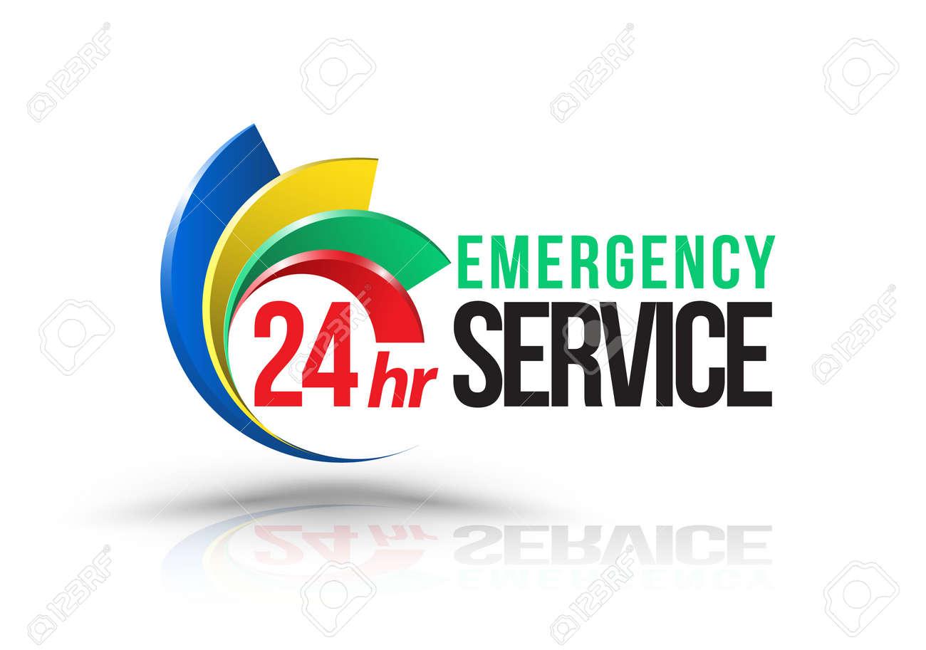 24hr Emergency service logo. Vector illustration. - 61413129